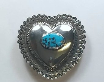 Native American Navajo handmade Sterling Silver Turquoise stone heart belt buckle