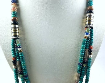Native American Navajo handmade Sterling Silver Turquoise Lapis Onyx Tiger Eye Spiny Oyster shell beaded necklace by Tommy and Rosita Singer