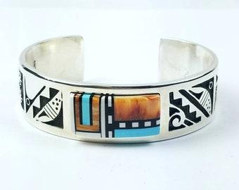 Native American Navajo handmade Sterling Silver inlay multi-stone cuff bracelet by Timothy Yazzie