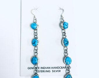 Native American Navajo handmade sterling silver and Kingman Turquoise dangle earrings