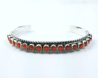 Native American Navajo handmade heavy gauge Sterling Silver Coral bracelet