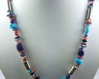 Native American Navajo handmade Sterling Silver Turquoise Onyx Denim Lapis Charoite Spiny Oyster shell beaded necklace