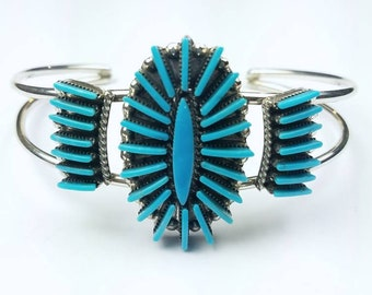 Native American Zuni handmade Sterling Silver Turquoise needle point stone cuff bracelet