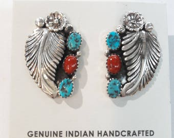 Native American Navajo handmade sterling silver turquoise and Mediterranean Coral feather post earrings