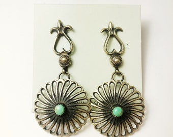 Native American Navajo Handmade Sterling Silver Nevada Turquoise Earrings