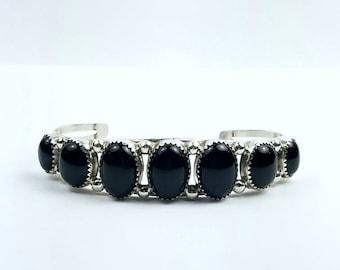 Native American Navajo handmade Sterling Silver Black Onyx cuff bracelet