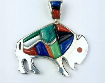 Native American Navajo handmade Sterling Silver multi-stone cobble stone pendant
