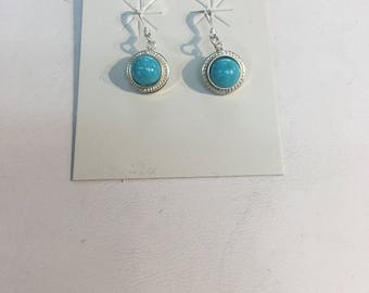 Native American handmade sterling silver drop  earrings set with genuine turquoise