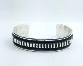 Native American Navajo handmade heavy gauge Sterling Silver cuff bracelet by Elvira Bill