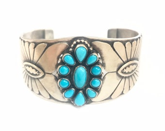 Native American Navajo handmade stunning sterling silver (Vintage patina) unisex cuff bracelet set with Sleeping Beauty Turquoise stones