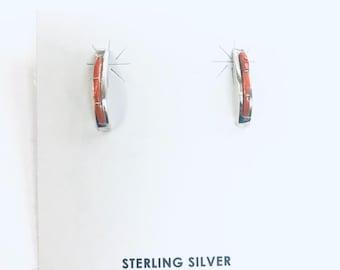 Native American Zuni handmade sterling silver Mediterranean coral small half hoops