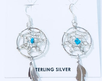 Native American Navajo handmade sterling silver turquoise Dreamcatcher earrings