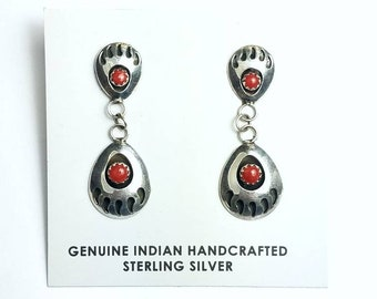 Native American Navajo handmade Sterling Silver Coral stone stud earrings