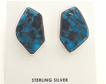Native American Navajo handmade sterling silver Turquoise post earrings