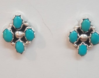 Native American Navajo Handmade Sterling Silver Turquoise Earrings