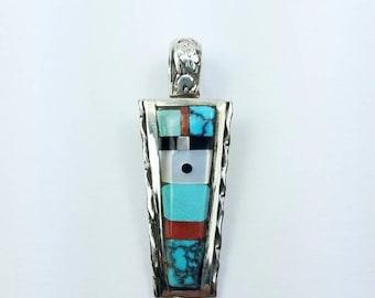 Native American Zuni handmade Sterling Silver multi-stone inlay pendants
