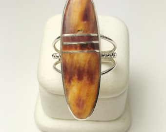 Native American Navajo Handmade Sterling Silver Spiny Oyster Shell Ring