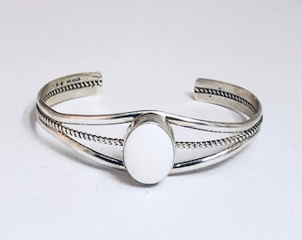 Native American Navajo Handmade Sterling Silver and Dolomite Cuff Bracelet