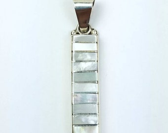 Native American Zuni handmade Sterling Silver Mother of Pearl inlay pendant