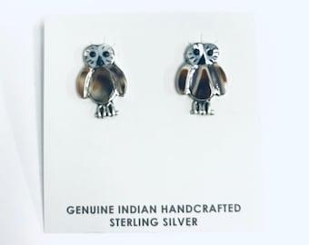 Native American Zuni Inlay handmade Sterling silver, shell, onyx, owl stud earrings