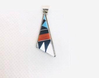 Native American sterling silver handmade Zuni Multi stone inlay pendant