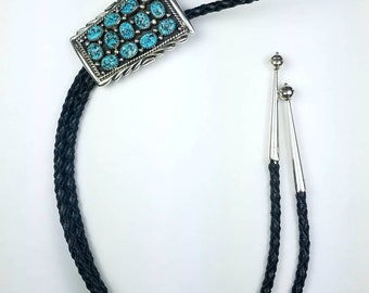 Native American Navajo handmade Sterling Silver Turquoise stone bolo tie