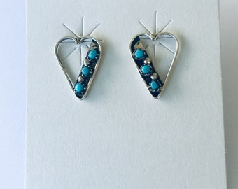 Native American Zuni handmade sterling silver and turquoise stud earrings