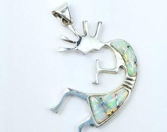 Native American Navajo handmade Sterling Silver Opal inlay pendant