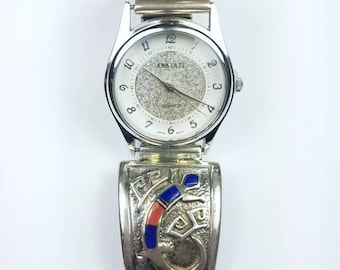 Native American Navajo handmade Sterling Silver inlay Lapis Coral Onyx Opal stone watch