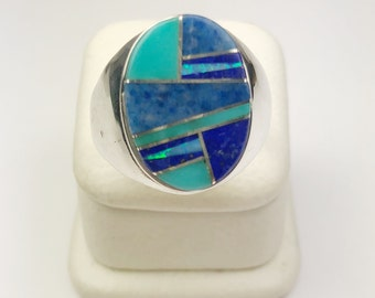 Native American Navajo Handmade Sterling Silver Turquoise Lapiz Opal Inlay ring