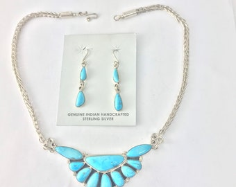Native American Navajo Handmade Sterling Silver and Sleeping Beauty Turquoise Necklace and Earring Set