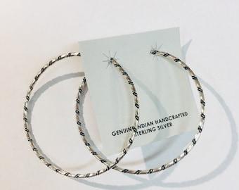 Native American Navajo handmade sterling silver hoop earrings