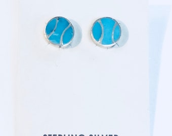 Native American Zuni handmade sterling silver and turquoise inlay post earrings