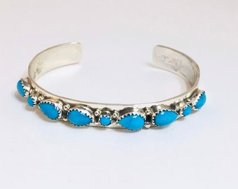 Native American Navajo Handmade Sterling Silver and Sleeping Beauty Turquoise Cuff Bracelet