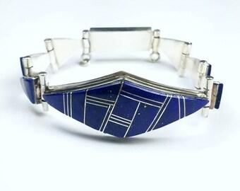 Native American Navajo handmade Sterling Silver Lapis inlay link bracelet