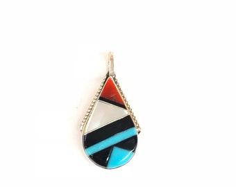 Native Americans Zuni handmade multicolored inlay pendant