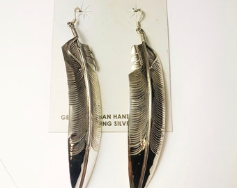 Native American Navajo Handmade Sterling Silver Feather Earrings
