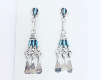Native American Zuni handmade sterling silver turquoise needlepoint long drop earrings