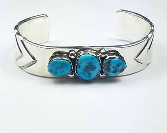 Native American Navajo handmade heavy weight Sterling Silver natural high grade Sleeping Beauty Turquoise cuff bracelet