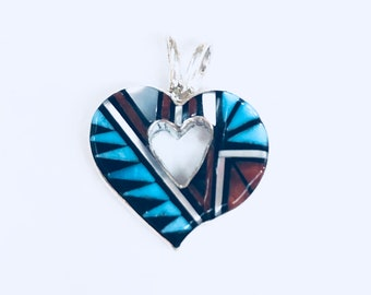 Native American Zuni Handmade Sterling Silver Multicolored inlay heart  pendent