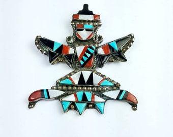 Vintage Native American Zuni handmade Sterling Silver multi-stone inlay brooch