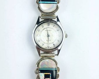 Native American Navajo Sterling Silver inlay Turquoise Onyx Opal Mother of Pearl stone watch