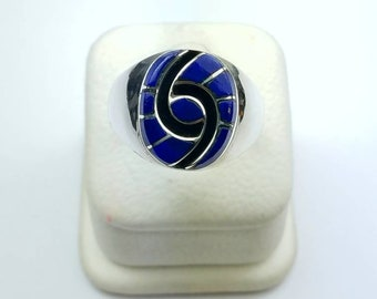 Native American Zuni handmade Sterling Silver Lapis inlay ring