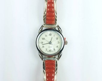 Native American Navajo handmade Sterling Silver inlay Coral stone watch