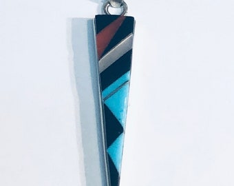Native American Zuni handmade sterling silver multi colored inlayed pendant