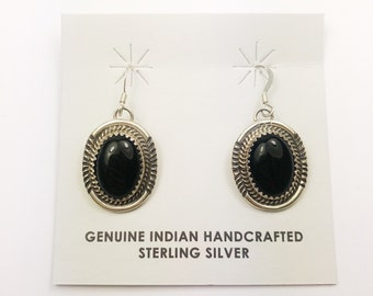 Native American Navajo Handmade Sterling Silver Black Onyx Earrings