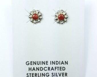 Native American Navajo handmade Sterling Silver Coral stone stud earrings