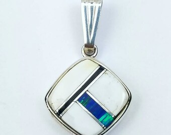 Native American Navajo handmade Sterling Silver multi-stone inlay pendant
