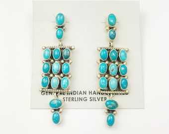 Native American Navajo Handmade Sterling Silver Cerillos Turquoise Earrings