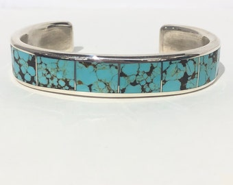 Larry Loretto Men's Turquoise cuff bracelet: Native American Zuni handmade sterling silver and inlaid turquoise cuff bracelet